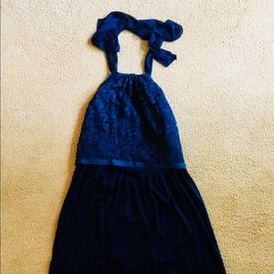 Navy blue halter dress with lace